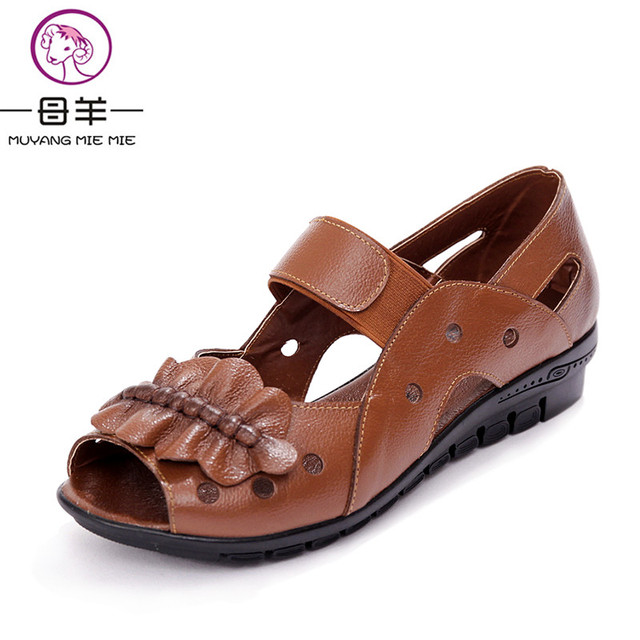 678fdc78b Muyang Mie Mie Summer Women Shoes Woman Genuine Leather Flat Sandals