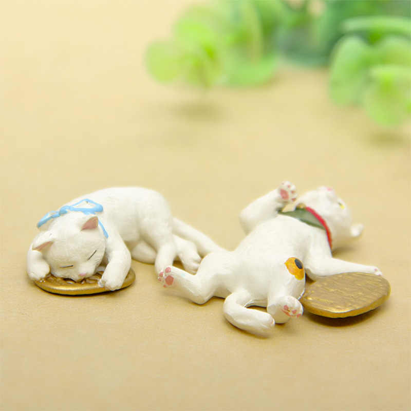 Kawaii Lucky Cat resin craft Figurine Bonsai home decor miniature fairy garden decoration accessories modern animal Model statue