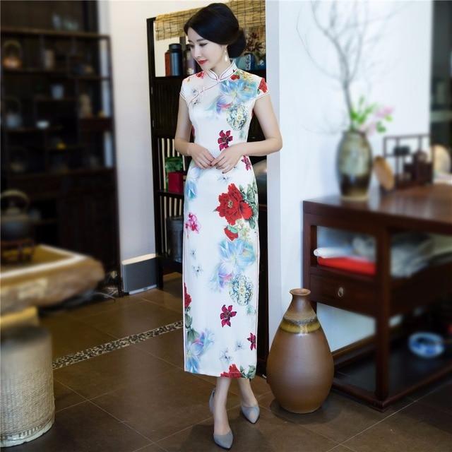 2e67a1c2f Shanghai historia blanco oriental vestidos largo cheongsam qipao vestido  chino tradicional estilo chino vestido