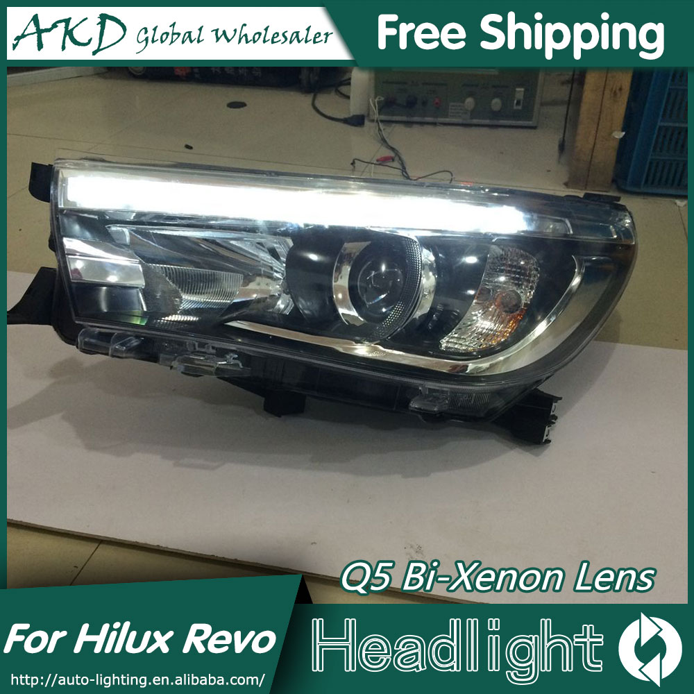 AKD Car Styling for Toyota Hilux LED Headlights 2015 New Hilux Revo Headlight DRL Bi Xenon Lens High Low Beam Parking Fog Lamp hireno car styling for toyo ta corolla 2011 13 headlights led super bright headlight drl xenon lens high fog lam