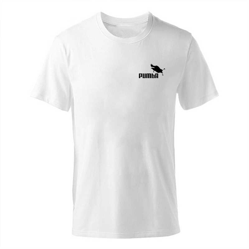 ENZGZL 2019 Nieuwe Zomer T-shirt Heren 100% katoen T-shirts mannelijke PUMBA print Tee Korte Mouw Ronde hals Jongens Tshirt zwart