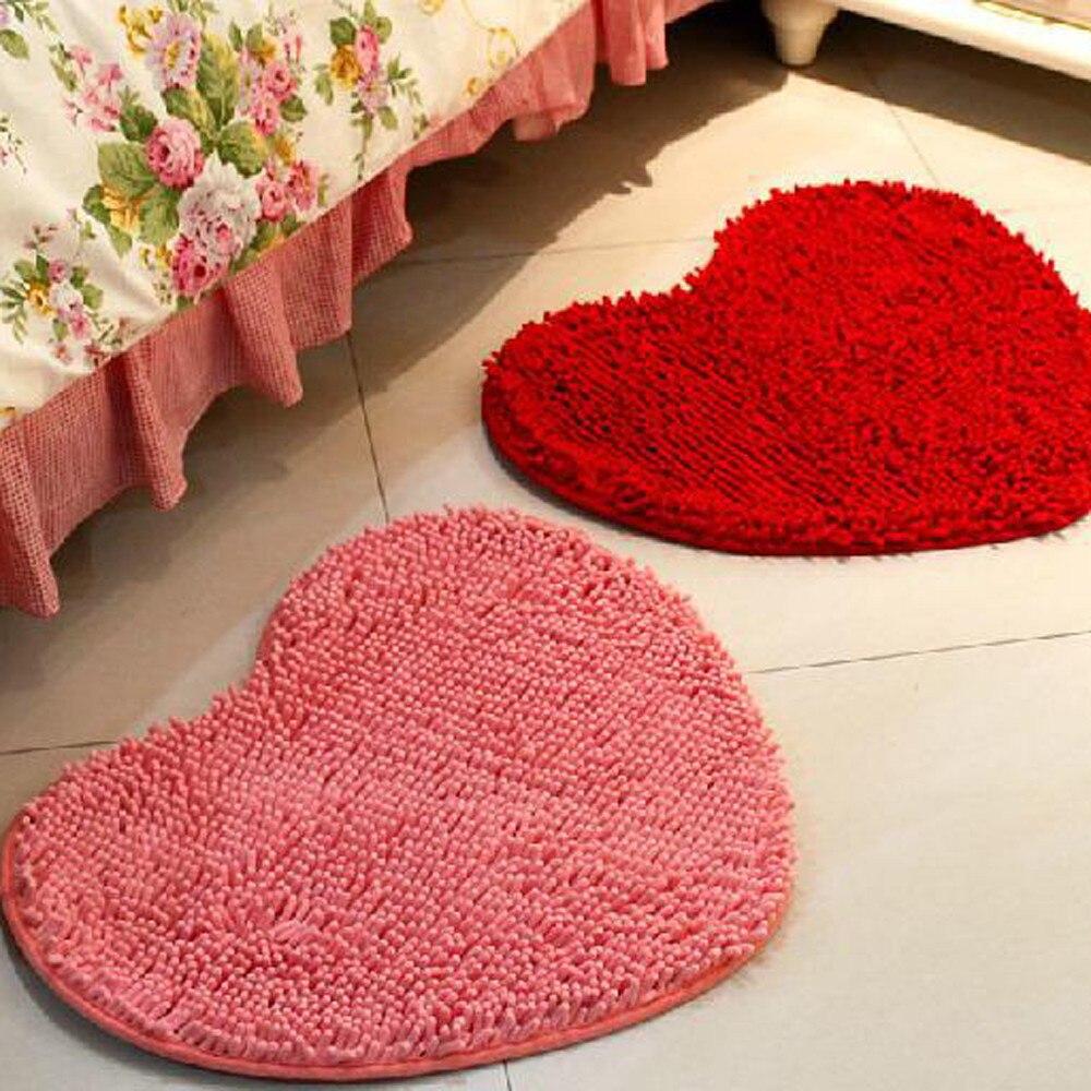50*60cm Microfiber Memory Foam Soft Shaggy Non Slip Absorbent Bath Mat  Bathroom Shower Rugs Carpet Pink Red Heart Shape Mats