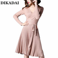 Elegant Office Ladies Dress Women Autumn And Winter Long Sleeve Knitting Pleated Knee Length Party