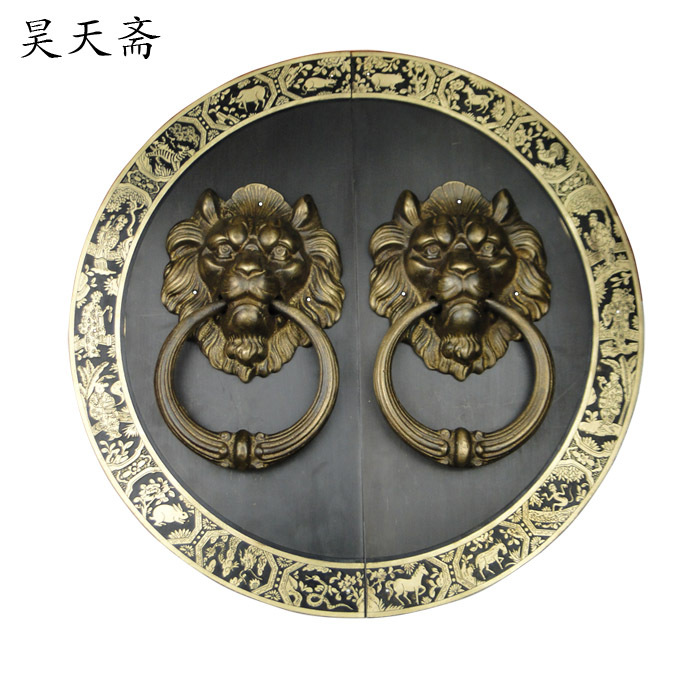 [Haotian vegetarian] Chinese antique door knocker copper ring copper beast handle door handle HTA-091 [haotian vegetarian] chinese antique copper fittings copper beast lion head door knocker handle first shop hta 050
