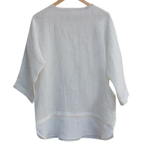 JAYCOSIN shirts Men summer Linen Patchwork blouses fitness Seven-Minute Sleeve Solid shirt Loose Blouse tops Tee streetwear 426 Karachi