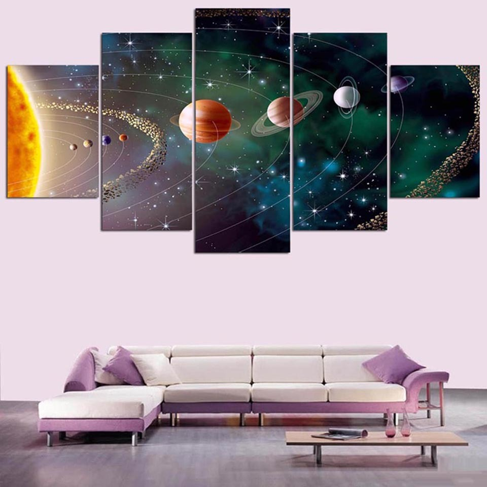 Modular Wall Pictures 5 Pieces Universe Planet HD Print Modern Home Decoration Canvas Painting Living Room Posters Framework