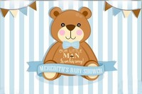 Custom Little Man Baby Shower Bear Flag Blue And White Striped backdrops   Computer print birthday background