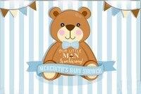 Personalizado Little Man Bebê Chuveiro Teddy Bear Flag Listrado Azul E Branco backdrops Computer print fundo de aniversário