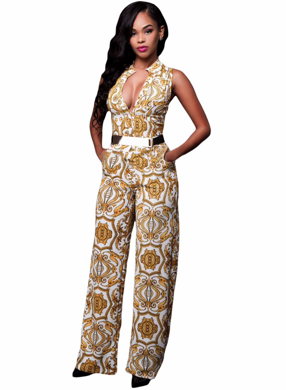 White-Yellow-Tapestry-Print-Belted-Jumpsuit-LC64195-1-2