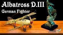 Statická modelka, Modely letadel, Albatros D.III 1:18 Replika statické stupnice, Balsa, Balsawood Airplane