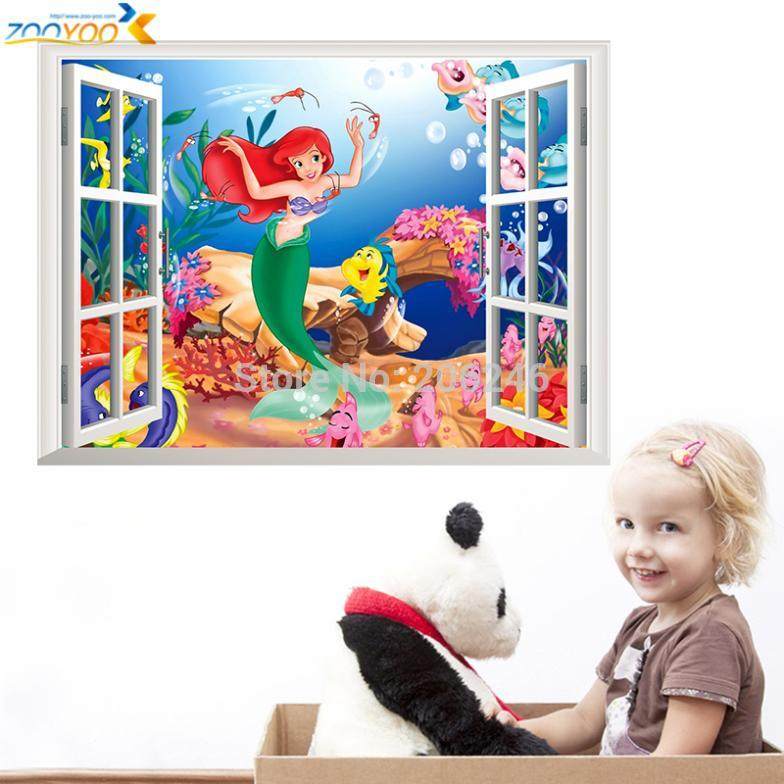 The Little Mermaid Underwater Fish Wall Stickers For Kids Rooms Home  Decoration Diy 3d Window Sticker Wall Decal For Girls Room In Wall Stickers  From Home ... Amazing Pictures