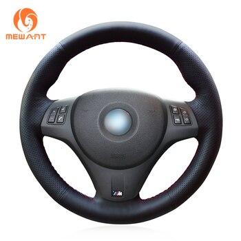MEWANT Hand Sew Black Genuine Leather Black Suede Car Steering Wheel Cover for BMW M Sport M3 E90 E91 E92 E93 E87 E81 E82 E88