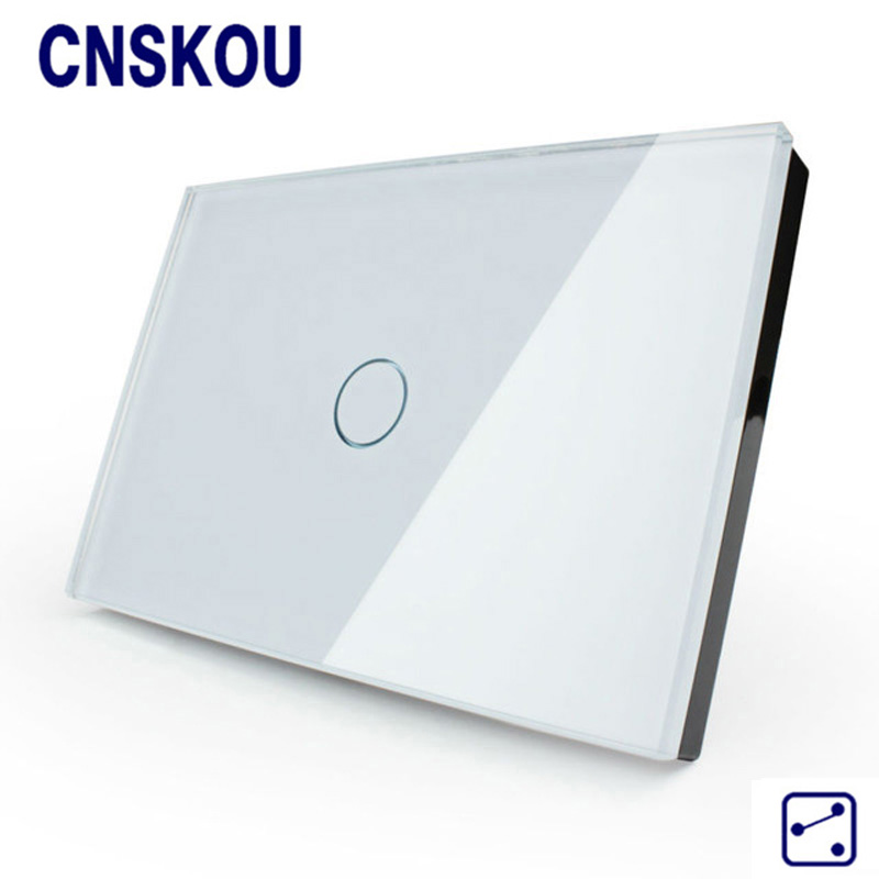 Cnskou Smart home US Light Touch Switch Crystal Glass Panel Wall Switch,1 gang 2 way LED indicator Touch Sensor Switch Factory funry st2 us remote control touch switch 1 gang 1 way glass panel smart wall switch for home automation free shipping