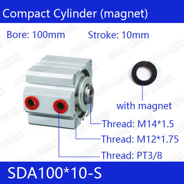 SDA100*10-S Free shipping 100mm Bore 10mm Stroke Compact Air Cylinders SDA100X10-S Dual Action Air Pneumatic Cylinder sda100 30 free shipping 100mm bore 30mm stroke compact air cylinders sda100x30 dual action air pneumatic cylinder