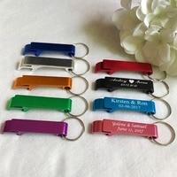 10 100pcs Personalized Engraved Bottle Opener Key Rings Wedding Name And Date Wedding Day Keepsake Custom