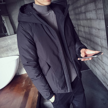 Nersonality 2017 Japanese Winter Hat Short Cotton-padded Clothes Male Cotton Loose Coat Black Concise Single Office Parka Men