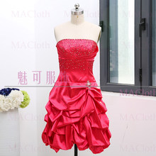 Fuchsia A-Line Strapless Knee-Length Beading Satin Prom Party Formal  Evening Dress S 261463 cfc1b8f42f96