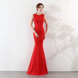Image 4 - Its Yiiya Mermaid Evening dress Elegant Floor length Solid long Party Gown Zipper back Sleeveless O neck Sexy Prom dresses C096