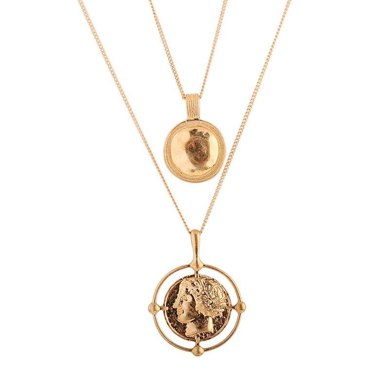 SHUANGR двойной ле Цепочки и ожерелья Золото Цвет Винтаж двойной Круглый personage подвеска древний монеты Цепочки и ожерелья s подарок для Для женщ... ...