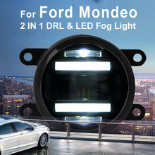 For Ford Mondeo New Led Fog Light with DRL Daytime Running Lights with Lens Fog Lamps Car Styling Led Refit Original Fog стоимость