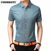 COODRONY Brand Men Cotton Shirt 2019 Summer Cool Short Sleeve Clothes Classic Plaid Business Casual Mens Shirts S96057