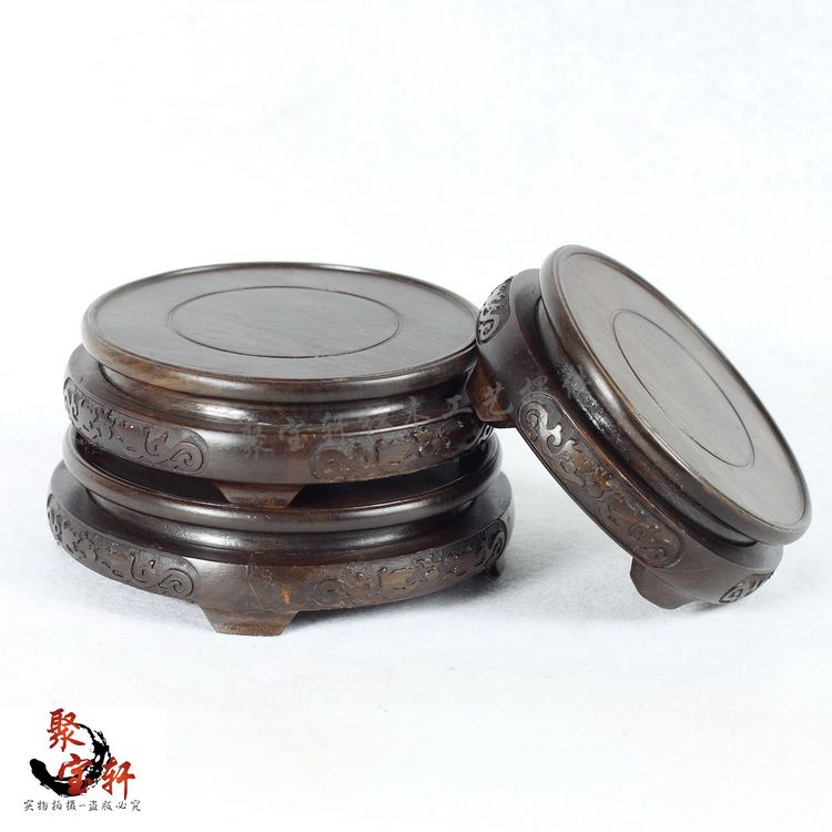 цена на Black mahogany wood carving handicraft circular base catalpa woodcarving figure of Buddha stone are recommended in the vase
