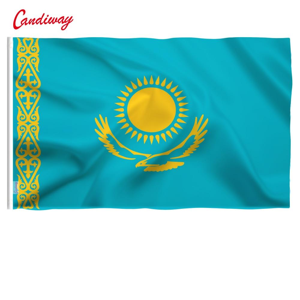 90 X 150cm   Kazakhstan Flag Parade Festival Banner Flag Home Decoration Decoration Office Activities  NN045