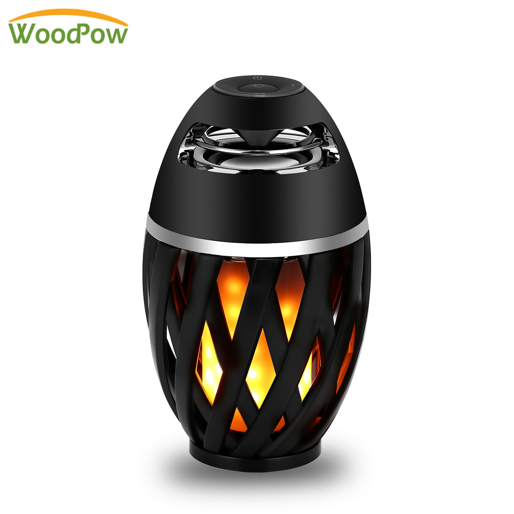WoodPow Flame Atmosphere LED Light Speaker Portable Table Lamp Night Lights Touch Control Built in Battery Party Music Lighting kmashi led flame lamp night light bluetooth wireless speaker touch soft light for iphone android christmas gift mp3 music player