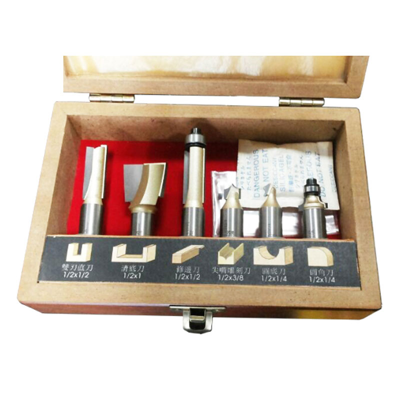 6PCS Professional 1/2 Shank CNC Router Bit Set with Wood Case Milling Cutter for Wood/ MDF/ Acrylic Cutting (no box) high grade carbide alloy 1 2 shank 2 1 4 dia bottom cleaning router bit woodworking milling cutter for mdf wood 55mm mayitr