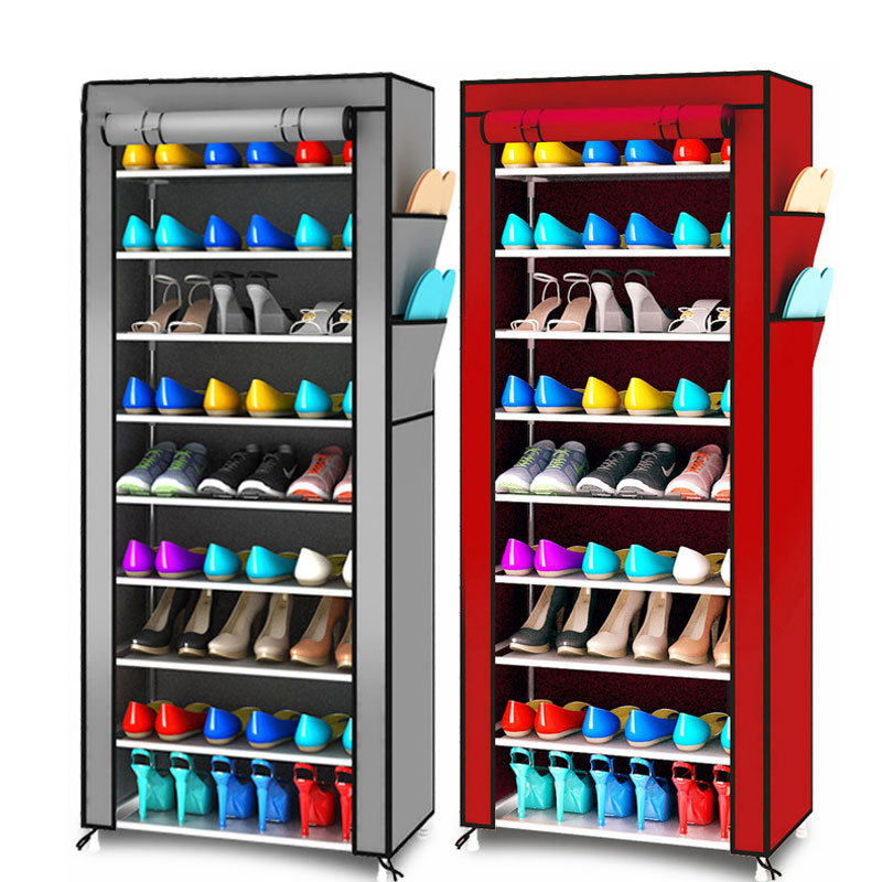 Sederhana Multifungsi Penyimpanan Sepatu Sepatu Oxford Tahan Debu Sepatu Kabinet 10 Lapisan 9 Grid Sepatu Rak