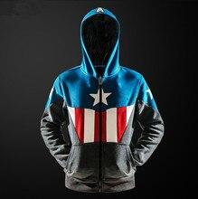Men Captain America Avengers League Superhero Fleece Hoodie Clothing Zipper Jacket Coat