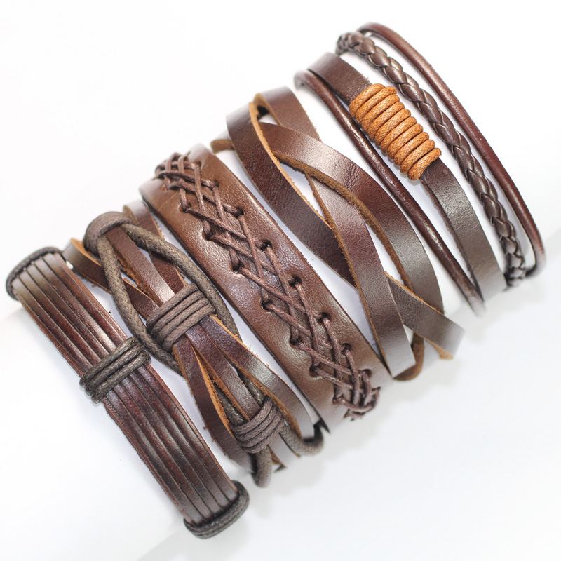 5PCS Vintage brown handmade genuine real leather bracelet ...