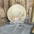 Pink Flower Tulle Veil Attached Wedding Bridal Hat Fine Linen Bridal Hair Accessory Bride Mother Special Occasion Hat
