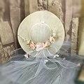 Rosa Flor Nupcial Do Casamento Véu de Tule Anexado Chapéu de Linho Fino de Noiva Acessório Do Cabelo Chapéu Noiva Mãe Ocasião Especial