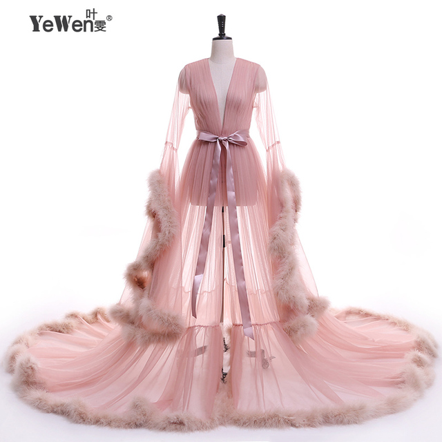 YeWen Vestido de festa Feather Long Sleeve Tulle Party Evening Dresses Sexy Burgundy Formal prom dress Gown Women Plus size