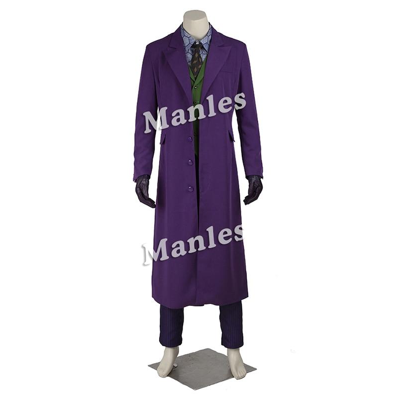 Joker Cosplay Costume Classic Purple Coat With Suit Halloween Tailored