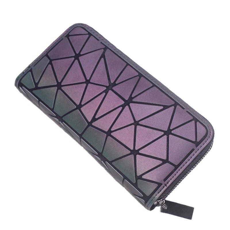Lo más nuevo Cartera de embrague larga de mujer cartera luminosa cartera geométrica de entramado estándar cremallera carteras de diseñador Noctilucent monedero cartera