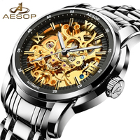 AESOP Classic Series Golden Movement Inside Silver Stainless Steel Mens Skeleton Watch Top Brand Luxury Fashion