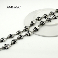 AMUMIU SKULL NECKLACE Stainless Steel 60cm 10mm Wholesale Link Chain Jewelry Rock Men Accessories 2017 New
