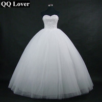QQ Lover 2019 New Sparkling Ball Gown Wedding Dress Custom Made Plus Size Vestido De Noiva Bride Wedding Gown