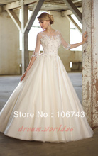 free shipping 2013 new design hot sale Long cap Sleeves Organza A-line Wedding Dress Party Deb Ball islamic fashion Brideal Gown