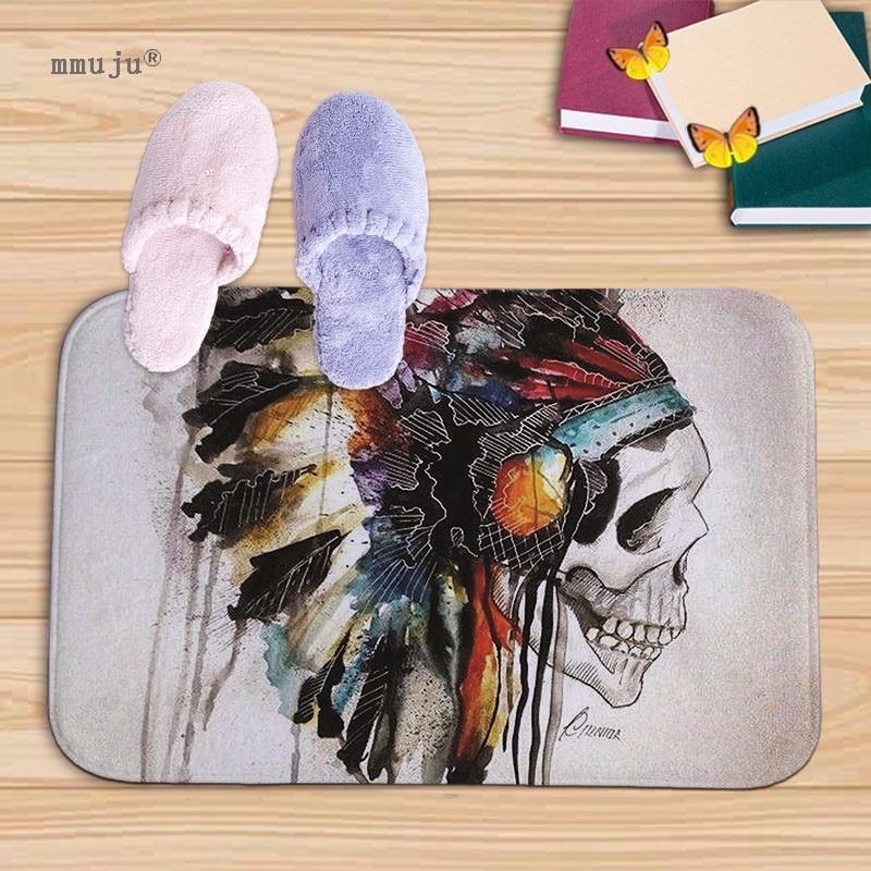 Fashion Skull patterns print Bath Kitchen Floor Door Bedroom Mats Carpet Non-Slip soft flannel Home Rugs 40x60cm cheap price