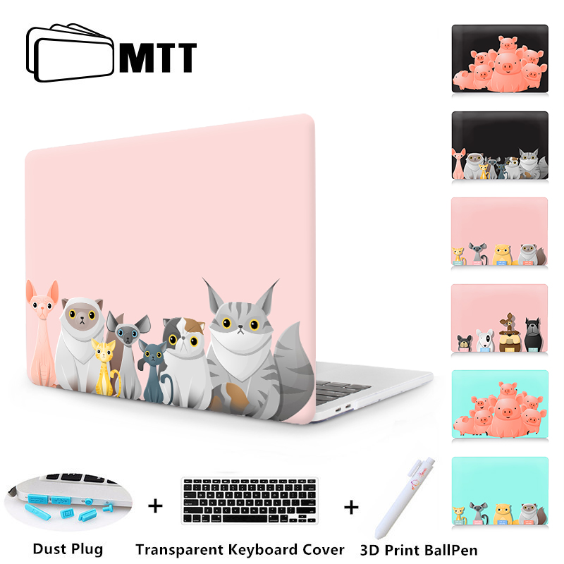 MTT Cartoon Animal Laptop Case For Macbook Air 11 13 Pro Retina 13 15 Touch bar Cover for Macbook 12 inch Cute Cat Laptop Sleeve new leather sleeve protector bag stand cover for macbook air 13 pro retina 11 12 13 15 laptop case for macbook pro 13 touch bar