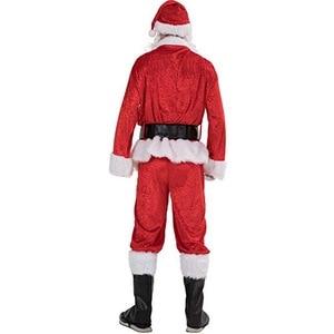 Image 4 - 7pcs Costume di Babbo natale Cappello Di Natale Babbo natale Cosplay Insieme Del Vestito + Hat + Barba + Top + Pantaloni + cintura + Guanti + Stivali di Pelle