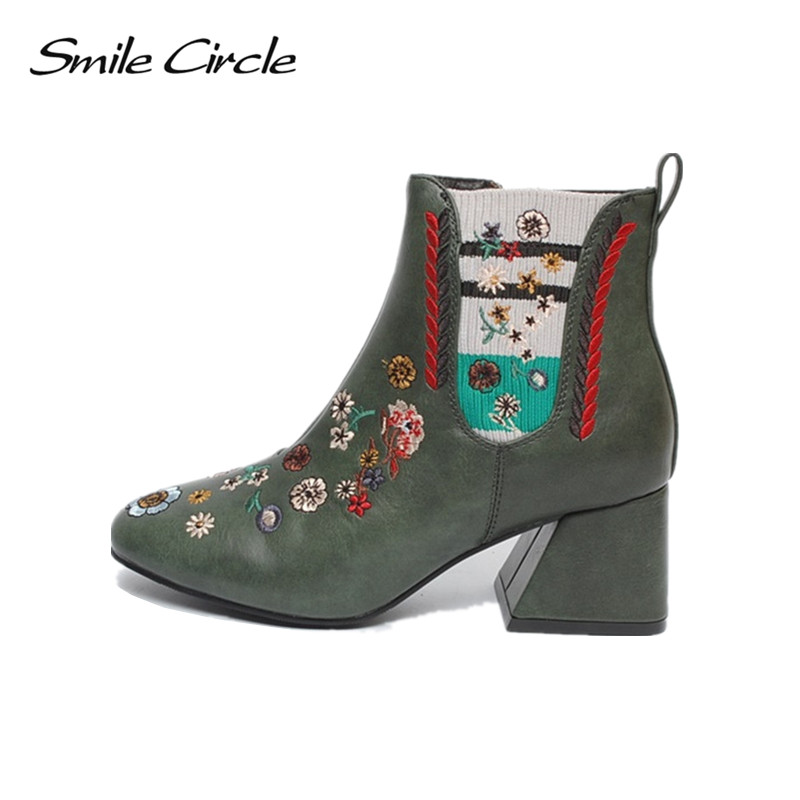 Smile Circle Autumn Boots For Women Chelsea Embroidered High heel boots Socks boots fashion square heel Ladies boots motorcycle parts radiator grille protective cover grill guard protector for 2006 2007 2008 2009 2010 2011 2016 kawasaki zzr1400