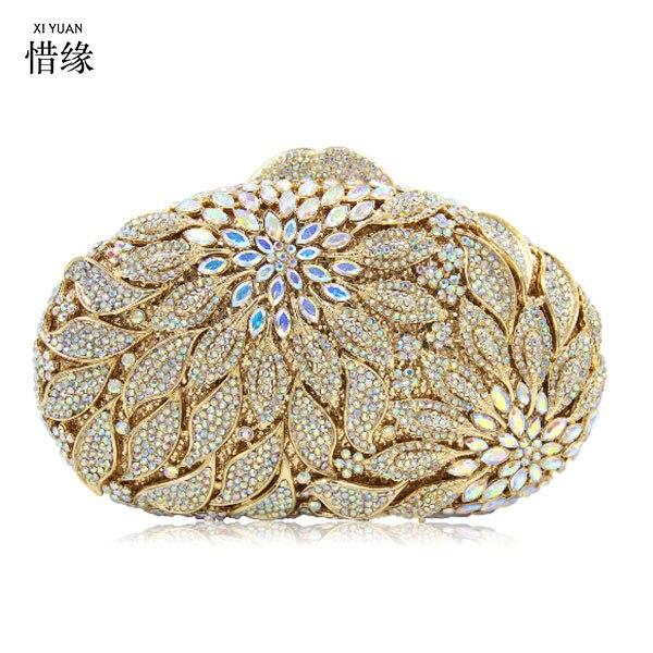 Damen gelb Handtaschen Stilvolle orange mehrfach Geldbörse Abendtaschen Gold Clutch Marke Tasche silber gold Urlaub Party Frauen Kupplungen Kristall Diamant Brown Xiyuan 18RqA8