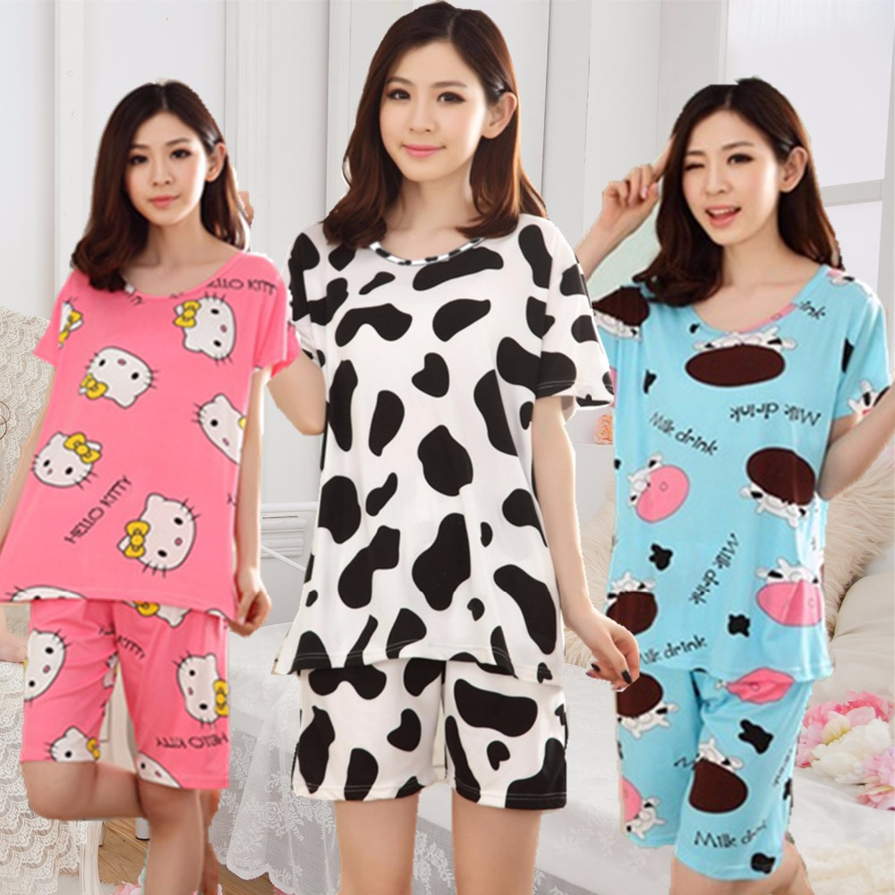 Low Price 2018   pajamas   for women short-sleeved summer   pajama     sets   Cartoon lovely pijamas mujer Casual Cute girl sleepwear suit