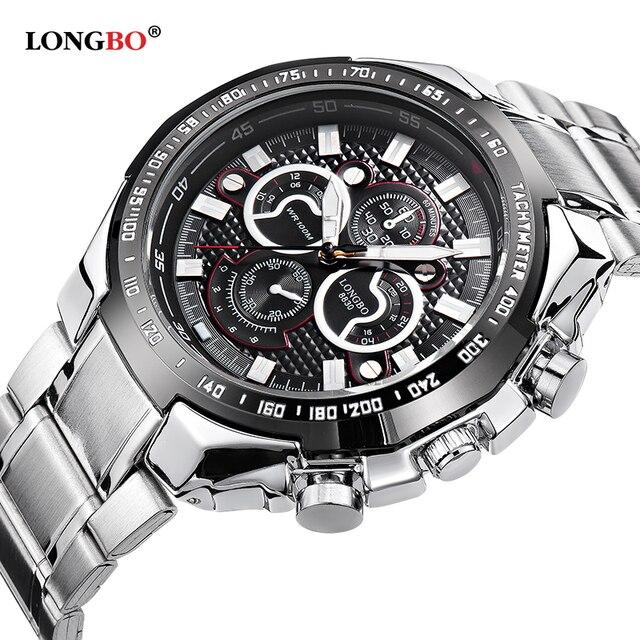 4743843886c Luxury Brand LONGBO Casual Watches Men Full Steel Military Waterproof Sport  Quartz Watch Men Business relogio