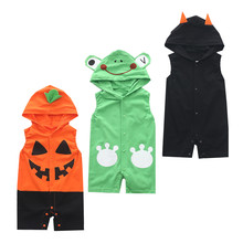 2018 cute Summer children's cartoon animal frog bear ladybug bats pumpkin hooded Jumpsuit climb clothes sleeveless insects cloth(China)