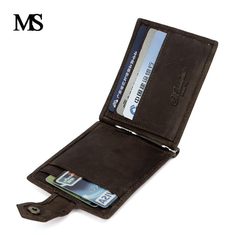MS 2018 New Genuine Leather Mini wallet Men Zipper Coin Pocket Dollar font b money b